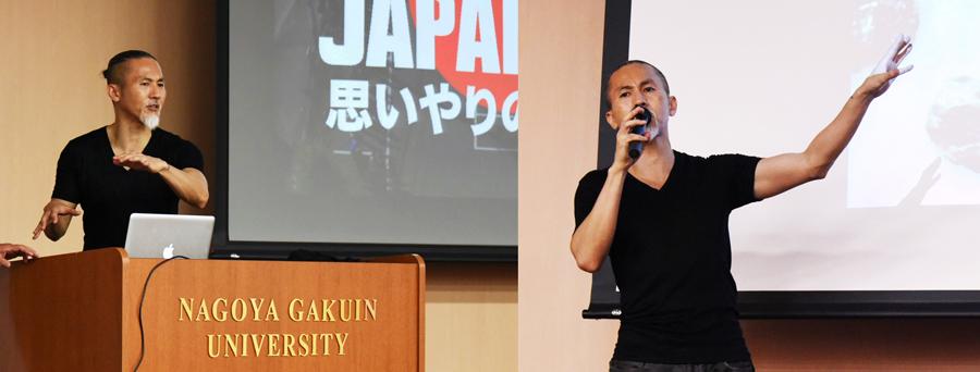 後輩たちを相手に特別講義をする坂倉さん(名古屋学院大で)